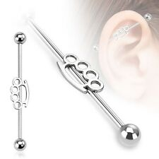 Brassknuckle Stainless Industrial Bar Scaffold Ear Barbell Ring PIERCING JEWELRY