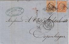 Lettre n°23&28 CaD Nantes (Loire-Inférieure)    Danemark 1868 Cover Brief