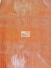 BIG NILE CROCODILE LEATHER VINYL FABRIC - Crush Orange - UPHOLSTERY BY THE YARD