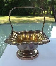RUSSIAN IMPERIAL PERIOD SILVER PLATE CANDY BASKET W/ HANDLE (СУСЛОВЪ)