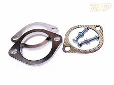 """2 x Universal 3"""" Inch 76mm 2 Bolt Steel Exhaust Flange Join + Gasket & Bolts"""