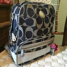 Coach Denim Blue Signature Silver Stripe Backpack Bag