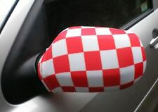 CAR WING MIRROR FLAGS, COVERS, FLAG-UPS! - RED/WHITE CHECK