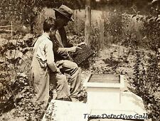 Father & Son Tending Bee Hives, Bennington, Vermont - 1914 -Historic Photo Print