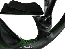 REAL BLACK LEATHER STEERING WHEEL COVER GREEN STITCH FOR VW TRANSPORTER T3 T25