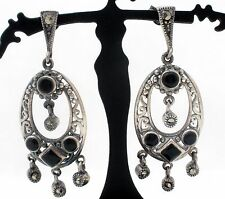 Sterling Silver Black Onyx Chandelier Earrings Dangle Drop Pierced Vintage 925
