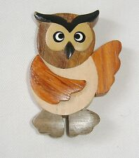 NEW QUALITY WOODEN HAND CRAFTED WOOD BIRD FRIDGE MAGNET OWL OM1