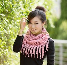 Women Winter Warm Infinity Long 2-Circle Cable Knit Cowl Neck Tassel Scarf Shawl