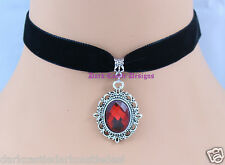 black velvet choker necklace Red Glass Cabochon Jewel Pendant goth Victorian UK