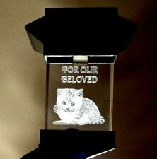 SOLAR LED PET MEMORIAL 3D CRYSTAL LIGHT -  CAT