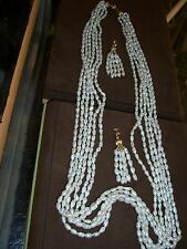 """6 Strand 32"""" Freshwater Pearl Necklace With 14k Clasp & Matching Earrings"""