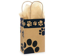 100 Paw Print Brown Kraft paper gift bags high quality wholesale 5x3x8USA