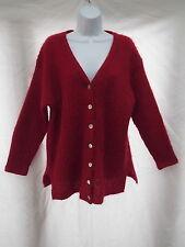 vtg moda intl mohair red cardigan oversize light v-neck tunic sweater L S MINT