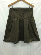 BNWT Cue Size 14 Brown with Green Tone Blue Pin-Striped A-line Skirt RRP $195