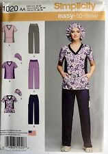 Simplicity Sewing Pattern 1020 Misses Scrubs Uniform Hat Sizes 10 - 18  EASY