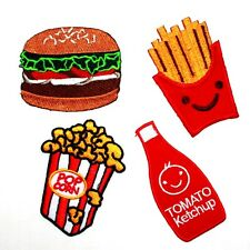 NEW! SET BURGER FRENCH FRIED FAST FOOD POPCORN KETCHUP EMBROIDERY IRON ON PATCH