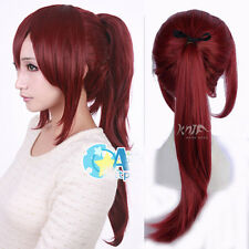 new wine red long straight silky hair anime wigs cosplay costume wig ponytail