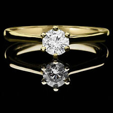 1.5 CT Round Solitaire Engagement Wedding Ring Simulated Diamond 14k Yellow Gold