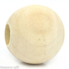 "20PCs Wood Spacer Beads Round Ball Natural 25mm Dia.(1"")"