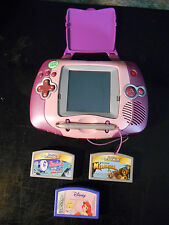 LeapFrog Leapster Pink Learning Game System + & 3 Games TESTED!!
