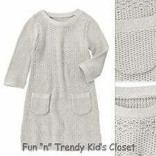 NWT Crazy 8 Girls Size X-Small 4 Grey Metallic Tipped Textured Sweater Dress NEW
