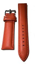 Hand Made Watch Leather Band Strap Orange - Padded and Hand Stitched Strap - ...