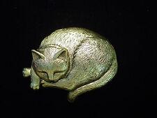 """JJ"" Jonette Jewelry Antique Gold Pewter 'Sleeping CAT' Pin"