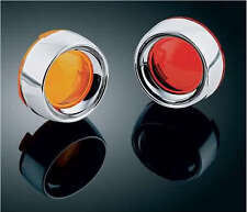 Honda Shadow Aero VT 750 - (x4)  Red+Amber Turn Signal Lenses w/Deep Dish Bezels