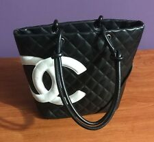 Chanel Black Quilted Calfskin White CC Cambon Bag Tote - used