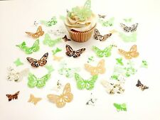 48 Edible Chocolate Lime Butterflies Pre Cut Wafer Cupcake Toppers