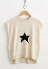NEW Womens Korean Fashion Casual Loose Star Print Pattern Knit Sleeveless Top