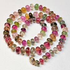 6.5mm-10.5mm Tourmaline Smooth Rondelle Bead Necklace 14K clasp