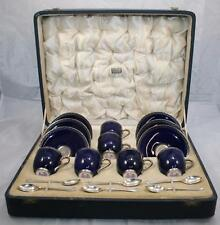 Set of Royal Worcester Harrods Coffee Cups & Saucers with Silver Spoons
