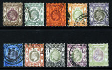 HONG KONG KE VII 1903 Definitive Wmk Crown CA Part Set SG 62 to SG 72 VFU