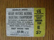 15/03/1980 Ticket: Basketball - National Championships - Womens & Mens Final [At