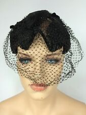 Vintage Black Birdcage Veil Cocktail Headpiece Funeral Mourning Halloween EUC