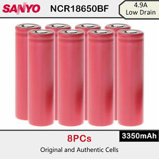 8 x Sanyo NCR18650BF 3350mAh 4.9A Low Drain Rechargeable Lion Battery 3.7V
