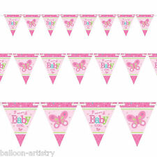 4.5 M Little PINK WELCOME Baby Girl Shower party PENNANT FLAG BANNER Bunting