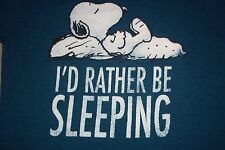 Snoopy I'd Rather Be Sleeping Peanuts T-Shirt Womens Small