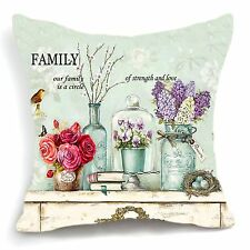 Retro Vintage Purple Flower Green Vase Decorative Pillow Case Cushion Cover 18''