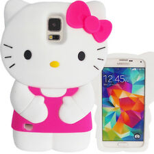 3D Hot Pink & White Hello Kitty Case for Samsung Galaxy S5 Cute Bow Soft Cover