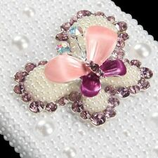 For iPhone SE 5S DIAMOND RHINESTINE BLING CASE COVER 3D PEARL PINK BUTTERFLY