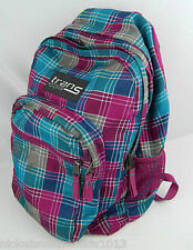Pre-owned Trans by Jansport Pink, Blue, and Brown Plaid Backpack Good Zippers