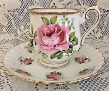 "Royal Albert Fine Bone China Cup & Saucer, ""American Beauty-Forget Me Not Rose"""