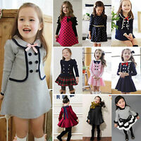 Kids Girls Clothing Princess Dress Long Sleeve Top School Fancy Costume Age 2-9Y
