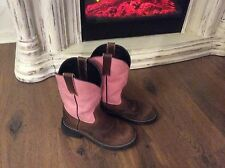 WOMENS PINK BROWN COUNTRY  HUNTING EX COND WESTERN ROUND TOE  BOOTS SIZE 7