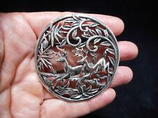 "Authentic Vintage 1970's Sarah Coventry ""Deer in the Woods"" Silver Tone Brooch"