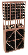Wooden Side Display Diamond Bin Combo Wine Cellar Rack Kit in Redwood. USA Made.
