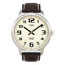 Timex T28201, Men's Large Easy Reader, Brown Leather Watch, Indiglo, T282019J