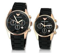 100% Brand New Authentic EMPORIO ARMANI Chrono BlackCouple Set  AR5905/AR5906